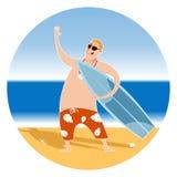 Happy Surfer on the beach vector illustration
