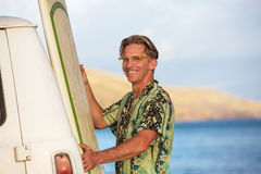 Happy Surfer in Hawaii Stock Photography