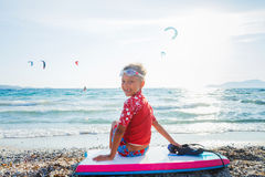 Happy Surfing boy. Stock Image