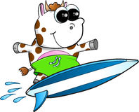 Happy Surfing Cow Vector Stock Image