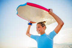 Happy Surfing girl. Stock Images