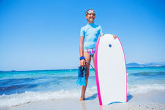 Happy Surfing girl. Royalty Free Stock Photo