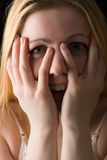 Happy surprise. Portrait of young girl with hands at her face in happy surprise gesture Stock Photos