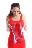 Happy surprise present in red bag for young woman Stock Photos