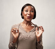 Happy surprised black woman Royalty Free Stock Photos