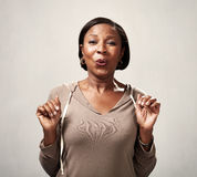 Happy surprised black woman Royalty Free Stock Images
