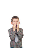 Happy surprised boy. Surprised boy holding hands to face and shouting isolated on white background,copy space for text message.Check also Children Royalty Free Stock Image