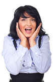 Happy surprised business woman Royalty Free Stock Image