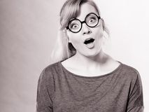 Happy surprised charming female. Stock Photo