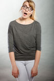Happy surprised charming female. Royalty Free Stock Image