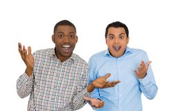 Happy surprised guys Stock Photography