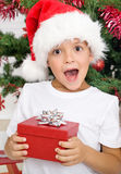 Happy surprised kid with christmas present Stock Image