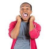 Happy surprised man with fists in the air Royalty Free Stock Photos