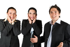 Happy surprised people team Stock Photography