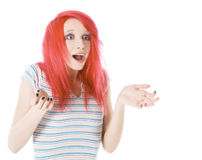 Happy and surprised red-hair young woman Stock Images