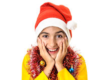 Happy and surprised Santa child Stock Photography