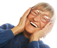 Happy surprised senior woman looking at camera Royalty Free Stock Photography