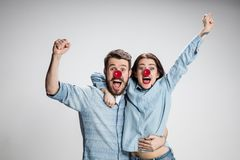 Happy man on red nose day. royalty free stock photos