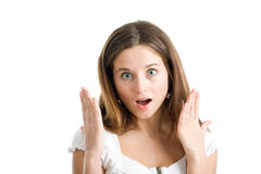 A happy and surprised woman. With hands raised in amazement Stock Images
