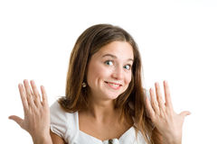 A happy and surprised woman Royalty Free Stock Photos