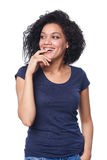 Happy surprised woman looking to the side smiling Royalty Free Stock Photos