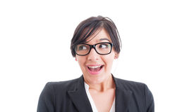 Happy and surprised woman with mouth open Royalty Free Stock Photography