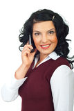 Happy surprised woman on phone mobile Stock Photos