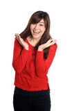 Happy surprised woman in red Stock Photography
