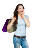 Happy surprised woman shopping Stock Image