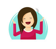 Happy surprised woman vector illustration, flat cartoon excited cheerful person with smile on face, hands up, happiness Royalty Free Stock Images