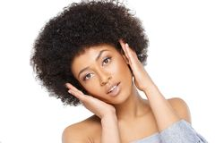 Happy surprised young African American woman Stock Photo