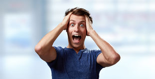 Happy surprised young man Royalty Free Stock Image