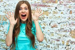 Happy surprised young woman. Brick grunge Stock Image