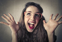Happy surprised young woman Stock Photos