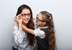 Happy surprising mother and excite kid in fashion stock photo