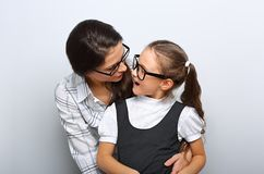 Happy surprising mother and excite kid in fashion stock photography