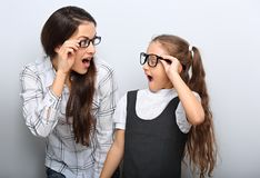 Happy surprising mother and excite kid in fashion stock photos