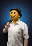 Happy Surreal Businessman with a Smiling Face Emotion Stock Photos
