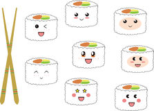 Happy Sushi. Set of cute sushi characters with chopsticks Royalty Free Stock Photography