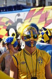 Happy Sweden fans rooting for their team Royalty Free Stock Photo