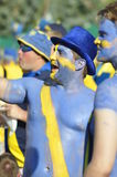 Happy Sweden fans rooting for their team Stock Photo