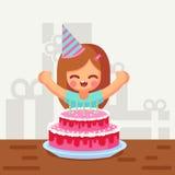 Happy sweet cute cartoon girl with birthday cake. Happy Birthday girl with cack flat cartoon  illustration Stock Image