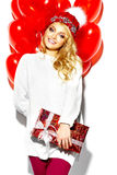 Happy sweet cute smiling blonde woman in stylish clothes Royalty Free Stock Photo