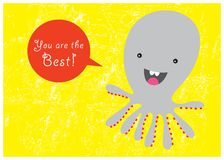 Happy sweet octopus stock illustration