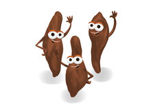 Happy sweet potatoes. Three happy sweet potatoes cartoon characters waving on a white background Stock Photo
