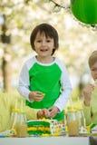 Happy sweet preschool children, celebrating fifth birthday of cu Stock Images