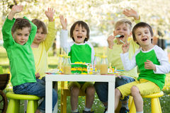 Happy sweet preschool children, celebrating fifth birthday of cu Royalty Free Stock Photography