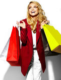 Happy Sweet Smiling Blonde Woman In Red Jacket Royalty Free Stock Photo