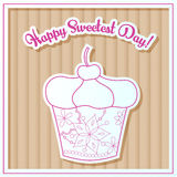 Happy sweetest day card with cupcake on cardboard Royalty Free Stock Image