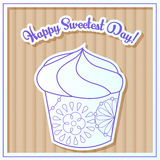 Happy sweetest day card with cupcake on cardboard. Vector Happy sweetest day card with cupcake on cardboard Stock Photography